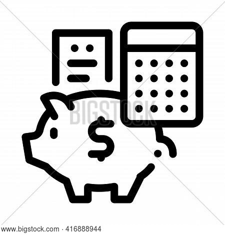 Piggy Bank Profit Calculating Audit Line Icon Vector. Piggy Bank Profit Calculating Audit Sign. Isol