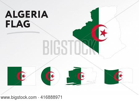 Algeria Map On Algeria Flag Vector. Circle Icon. Brush Stroke. Template For Independence Day. A Set