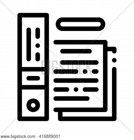 Electronic Documentation Of Audit Line Icon Vector. Electronic Documentation Of Audit Sign. Isolated