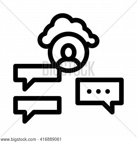 Cloud Storage And Sms Identity Line Icon Vector. Cloud Storage And Sms Identity Sign. Isolated Conto