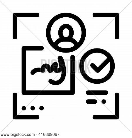Electronic Signature Identity Line Icon Vector. Electronic Signature Identity Sign. Isolated Contour