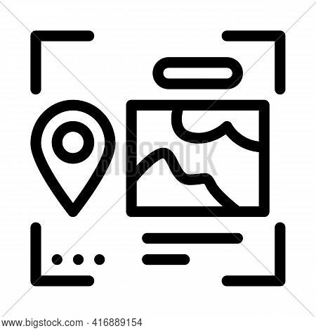 Image And Gps Location For Identity Line Icon Vector. Image And Gps Location For Identity Sign. Isol