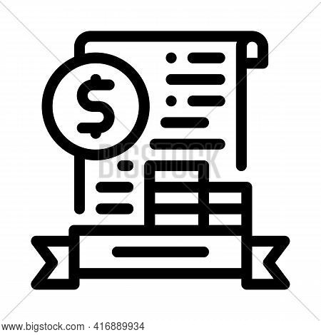Banking License Line Icon Vector. Banking License Sign. Isolated Contour Symbol Black Illustration