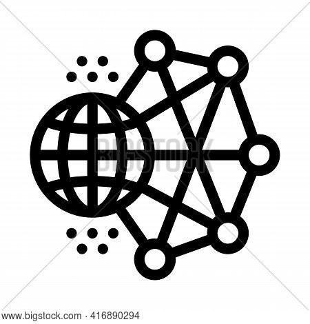 Worldwide Network Machine Learning Line Icon Vector. Worldwide Network Machine Learning Sign. Isolat