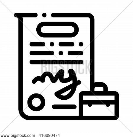 Contract Policy Line Icon Vector. Contract Policy Sign. Isolated Contour Symbol Black Illustration