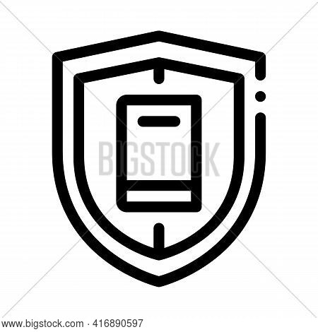 Shield Policy Line Icon Vector. Shield Policy Sign. Isolated Contour Symbol Black Illustration