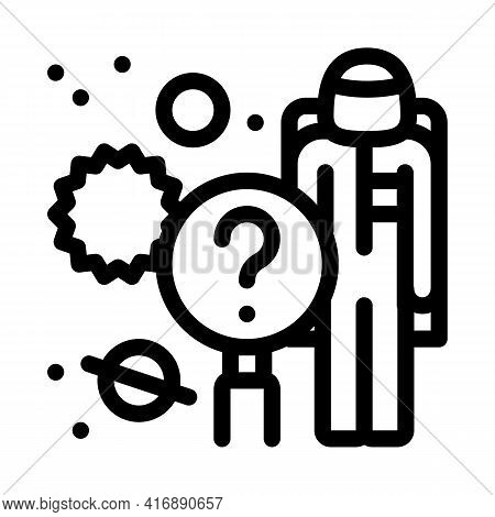 Space Researcher Line Icon Vector. Space Researcher Sign. Isolated Contour Symbol Black Illustration