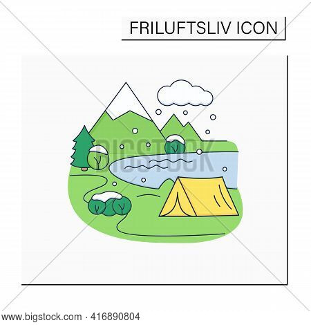 Camping Color Icon.tent On River Landscape Background. Snowy Weather. Adventure Tourism. Green, Eco