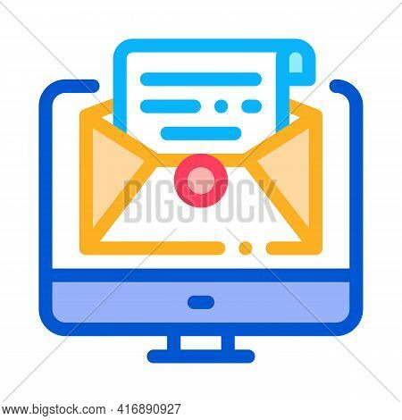Accept Incoming Mail Administrator Color Icon Vector. Accept Incoming Mail Administrator Sign. Isola
