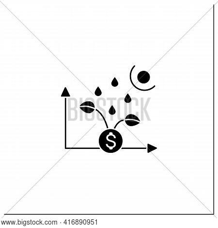 Economic Revival Glyph Icon. Development And Economic Growth After Crisis Period. Profit. Business C