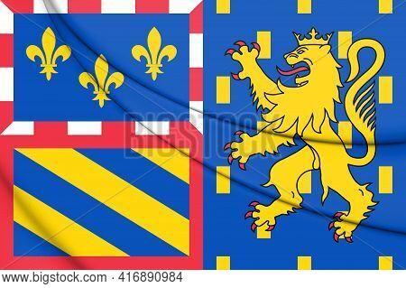 3d The Bourgogne-franche-comte Flag, France. 3d Illustration.