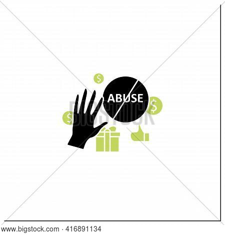Ending Abuse Glyph Icon. Stop Exploitation. Universal Basic Income Concept. Filled Flat Sign. Isolat