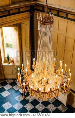 Large Crystal Chandelier With Candles, Top View.