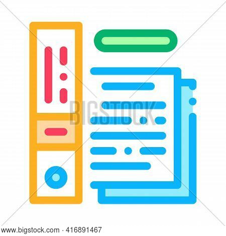 Electronic Documentation Of Audit Color Icon Vector. Electronic Documentation Of Audit Sign. Isolate