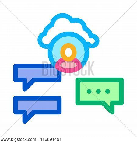 Cloud Storage And Sms Identity Color Icon Vector. Cloud Storage And Sms Identity Sign. Isolated Symb