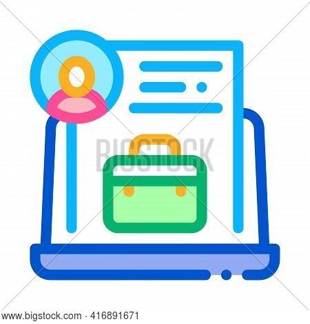 Business Case Or Cv Identity Color Icon Vector. Business Case Or Cv Identity Sign. Isolated Symbol I