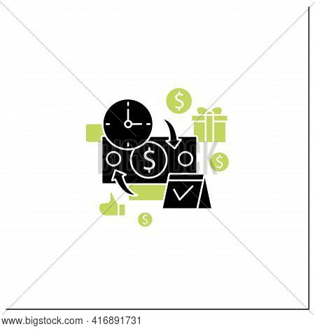 Periodic Payment Glyph Icon. Recurring Payments. Contribute Funds As Scheduled. Universal Basic Inco