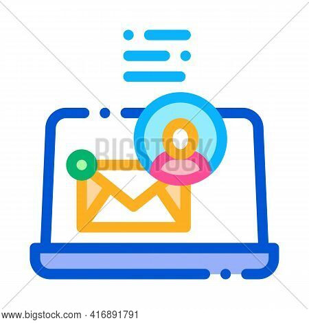 Electronic Mail For Identity Color Icon Vector. Electronic Mail For Identity Sign. Isolated Symbol I