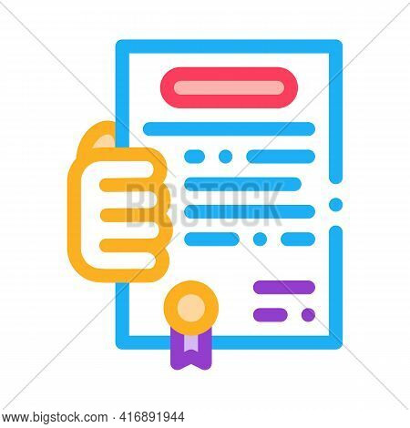 Getting License For Activity Color Icon Vector. Getting License For Activity Sign. Isolated Symbol I