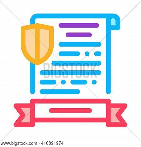 Insurance License Color Icon Vector. Insurance License Sign. Isolated Symbol Illustration