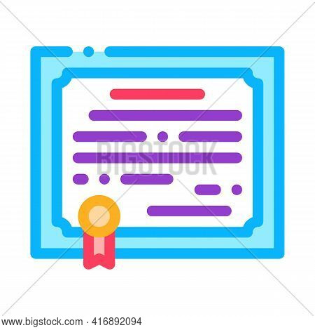 Certificate License Color Icon Vector. Certificate License Sign. Isolated Symbol Illustration