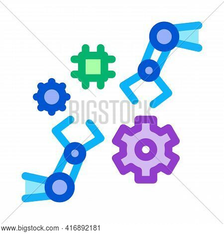 Robotic Arm Process Of Machine Learning Color Icon Vector. Robotic Arm Process Of Machine Learning S