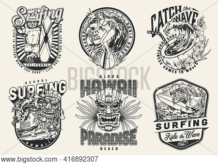 Extreme Surfing Vintage Badges With Skeleton Pretty Woman Man In Tiki Mask Surfers Funny Bear In Pan