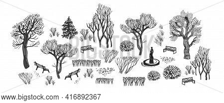 Big Set Of Black Silhouettes Of Park Winter Trees, Benches, Bushes, Lattice, Fantan Isolated On Whit