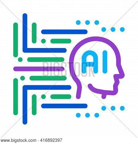 Artificial Intelligence Color Icon Vector. Artificial Intelligence Sign. Isolated Symbol Illustratio