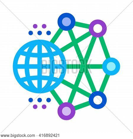 Worldwide Network Machine Learning Color Icon Vector. Worldwide Network Machine Learning Sign. Isola