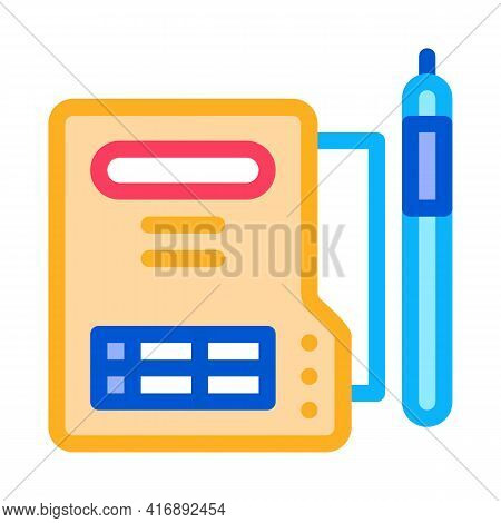 Document Policy Color Icon Vector. Document Policy Sign. Isolated Symbol Illustration