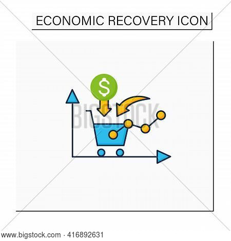 Growth Consumer Demand Color Icon. Consumers Willingness And Ability To Purchase. Profitable Buying.