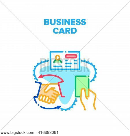 Business Card Vector Icon Concept. Business Card With Information Businessman Giving To Partner. Cal