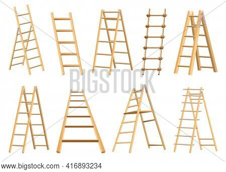 Set of wooden ladders household tool. Step ladders for domestic and construction needs. Isolated illustration