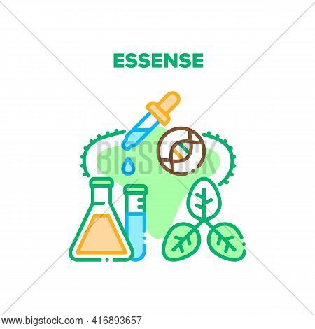 Essence Oil Vector Icon Concept. Essence Oil Chemical Liquid In Laboratory Flask Or Prepared From Na
