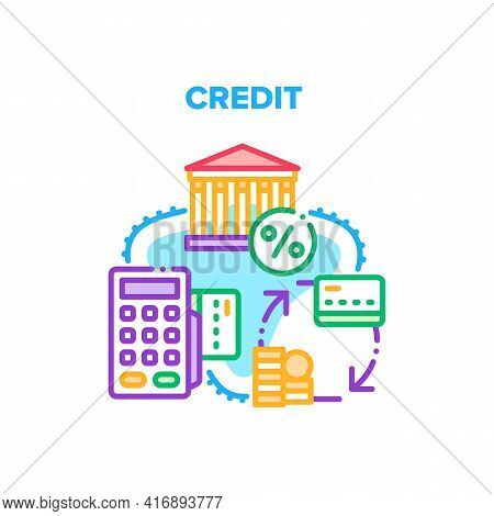 Credit Money Vector Icon Concept. Bank Getting Credit Money Or Transaction On Card. Payment With Ele