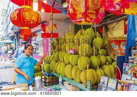 Sale Of The Stink Fruit Durian In Chinatown Bangkok Thailand.