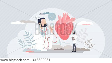 Cardiologist And Heart Health Doctor As Organ Specialist Tiny Person Concept