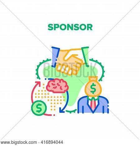 Sponsor Aid Vector Icon Concept. Sponsor Help Start Business, Investor Researching And Calculating F
