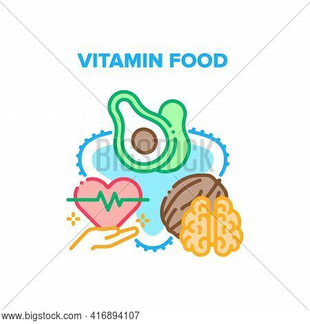 Vitamin Food Vector Icon Concept. Nut And Avocado Vitamin Food For Treatment Heart Beat, Delicious D