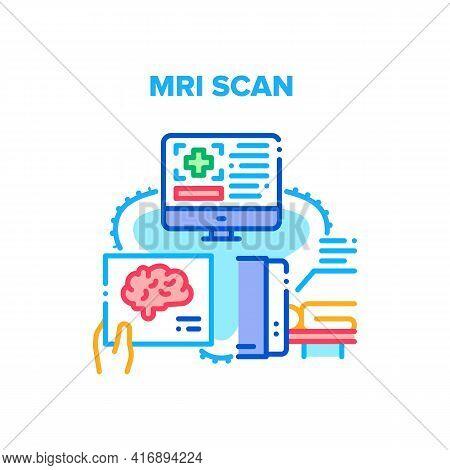 Mri Scan Device Vector Icon Concept. Mri Scan Device For Examination Patient, Magnetic Resonance Ima