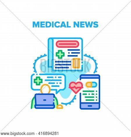 Medical News Vector Icon Concept. Medical News Mobile Application, Web Site Or Newspaper Of Disease