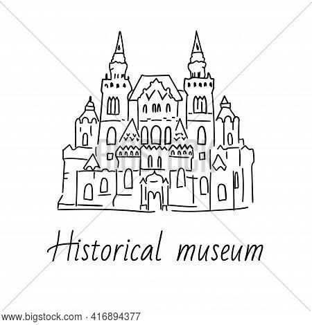 Hand Drawn Doodel Sketch Of Moscow Landmarks. Historical Museum On The Red Square. Black Line On Whi