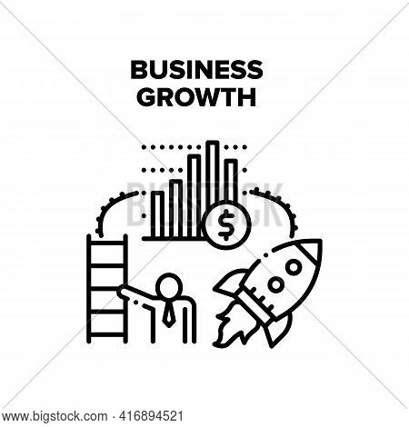 Business Growth Vector Icon Concept. Business Growth Financial Report And Employee Career, Company S