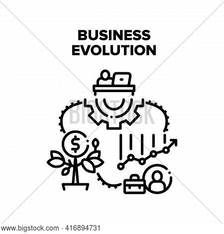 Business Evolution Process Vector Icon Concept. Company Finance And Wealth Growing, Business Evoluti