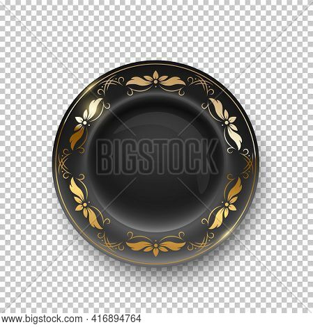 Black Plate With Golden Floral Pattern On Border On Transparent Background. Empty Dish For Dinner, B