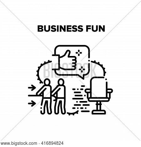Business Fun Vector Icon Concept. Business Fun Teamwork And Competition, Racing On Office Chair And