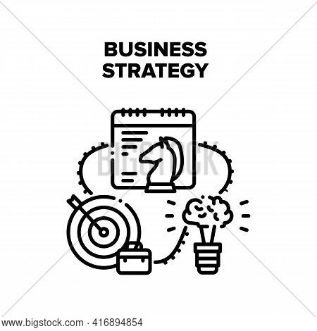 Business Strategy Planning Vector Icon Concept. Business Strategy Planning Realization Idea And Star