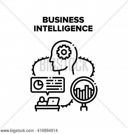Business Intelligence Process Vector Icon Concept. Business Intelligence Process, Manager Analyzing