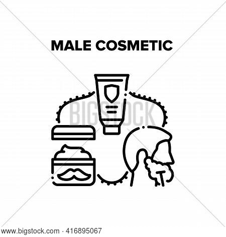 Male Cosmetic Vector Icon Concept. Shaving Foam And Mustache Care Cream, Razor After Lotion After Sh